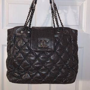 Chanel Quilted bubble flap tote handbag